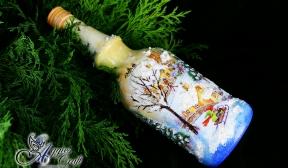 Decoupage Tutorial - Christmas Themed Bottle