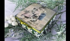 Christmas themed wooden box with children